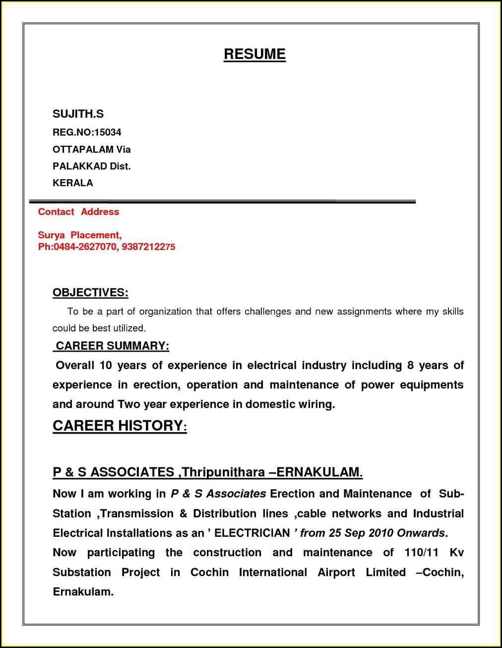 Electrician Resume Pdf Download Best Resume Examples