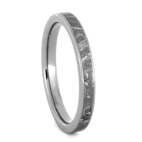 Womens Meteorite Wedding Band in Thin Titanium Ring