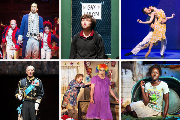 """Clockwise from top left: Lin-Manuel Miranda in """"Hamilton""""; Emily Skeggs in """"Fun Home""""; Robert Fairchild and Leanne Cope in """"An American in Paris""""; Lupita Nyong'o in """"Eclipsed""""; Kristine Nielsen, left, and Daniel Oreskes in """"Hir""""; andTim Pigott-Smith in """"King Charles III."""""""