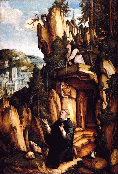 St. Benedict in prayer & solitude with food provided by the monk Romanus. 16th century painting by Meister von Meßkirch