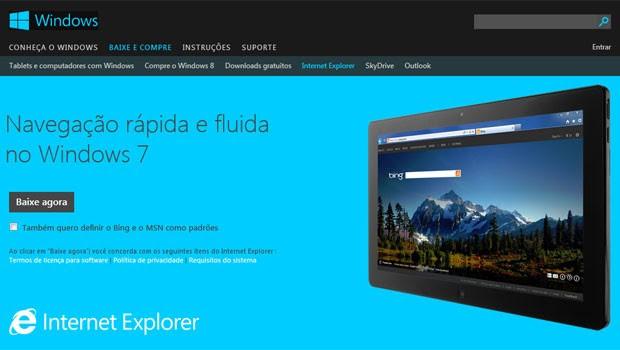 Microsoft disponibilizou o Internet Explorer 10 para Windows 8 (Foto: Reprodução)