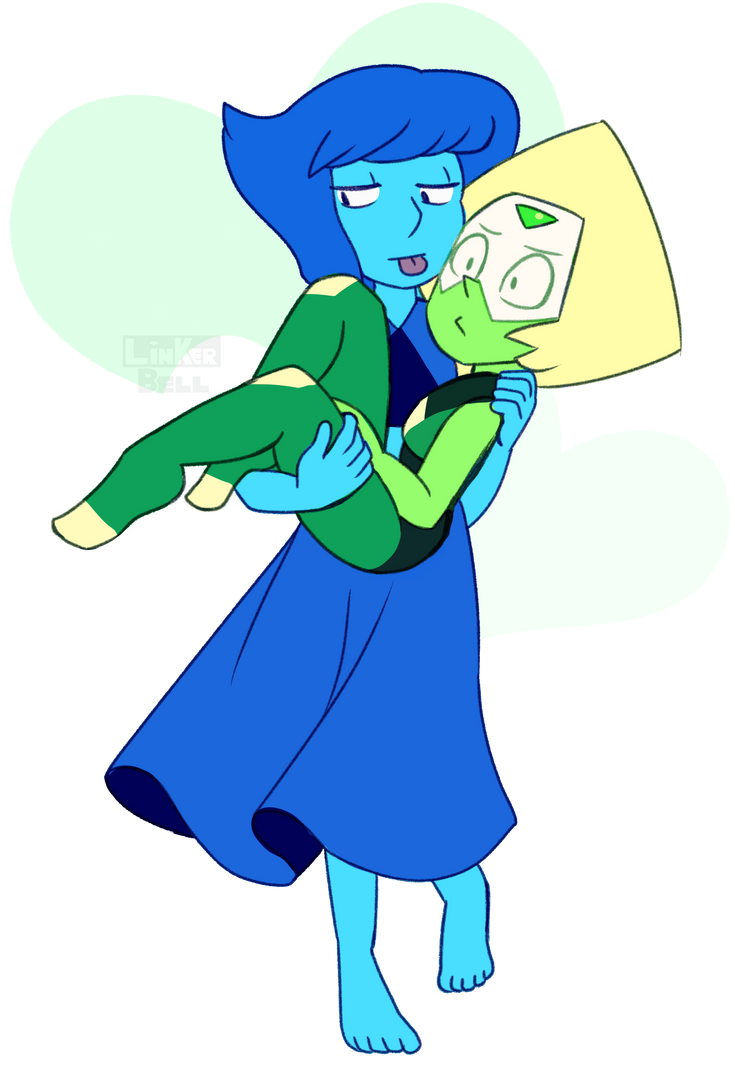 Happy Valentines Day everybody! I didn't have a really mushy Valentines day pic ready, so I recycled a Lapidot sketch I drew last week.>v>'' Enjoy~<3 Lapis & Peridot(C) Steven Universe