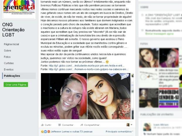 Caso foi ligado ao caso da estudante Mariana na internet (Foto: Reprodução/Facebook)