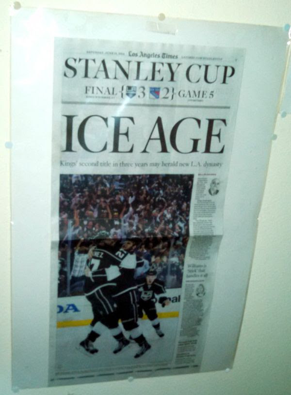 The Los Angeles Times sports page commemorating the L.A. Kings' Game 5 win over the New York Rangers on June 13, 2014.
