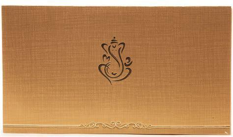 Hindu Wedding Invitation In Golden Beige With Ganesha