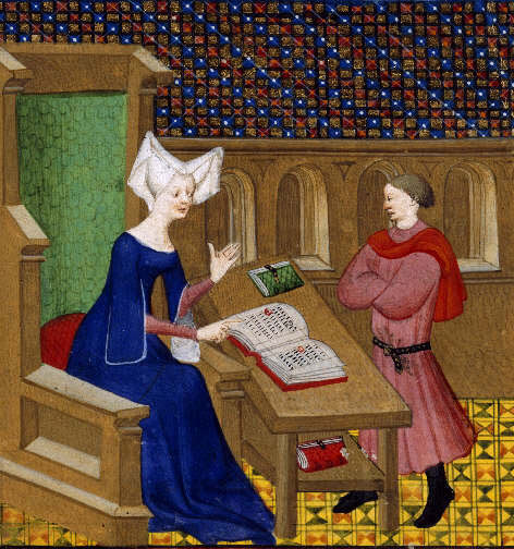 Archivo:Christine de Pisan and her son.jpg