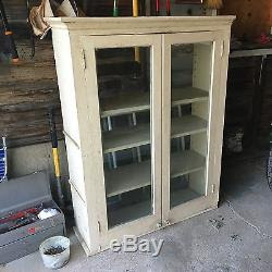 Vintage Wood Kitchen Cabinet Cupboard Shelf Glass Doors Salvage Built In 1900
