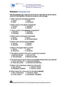 Worksheet 1: Geography Quiz Worksheet for 3rd - 5th Grade ...
