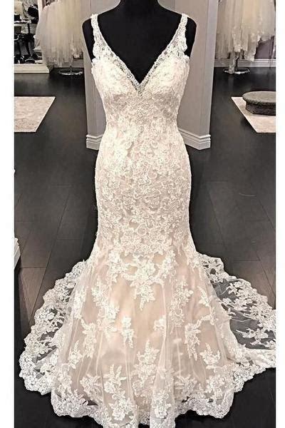 Fit&Flare V neck Wedding Dress Lace Beaded Backless