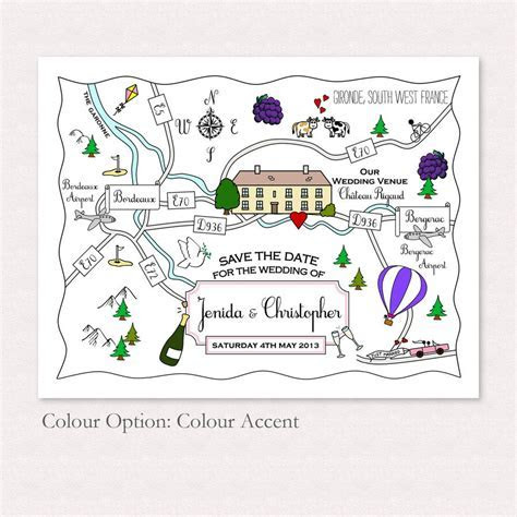 print your own colour wedding or party illustrated map by