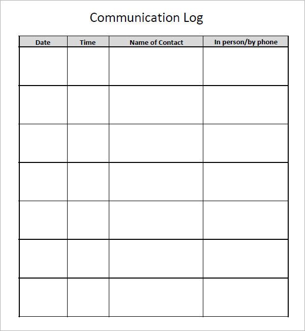 sample communication log