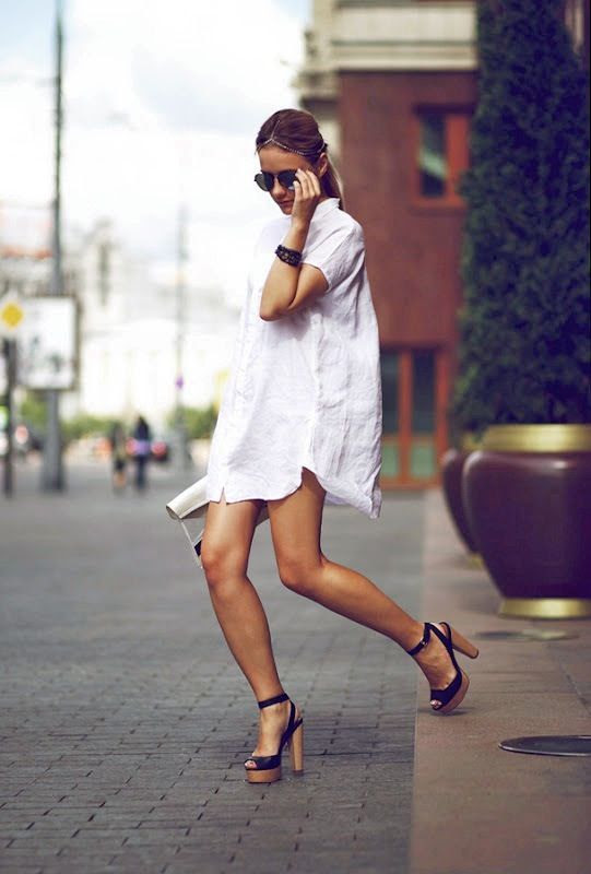 Le Fashion Blog Summer Style Beaded Hair Crown Aviator Sunglasses White Shirtdress Wood Wooden Platform Sandals Via Victoria Platina photo Le-Fashion-Blog-Summer-Style-White-Shirtdress-Wood-Platform-Sandals-Via-Victoria-Platina.jpg