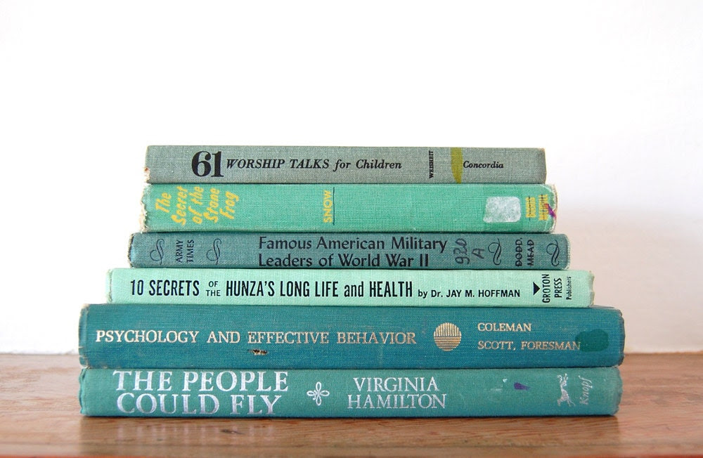 jade vintage books / blue-green 6 book collection - GeneralTaxonomy