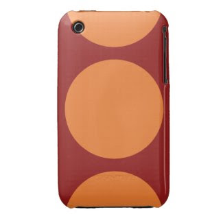 Orange Circles on Red Tough iPhone 3 Case