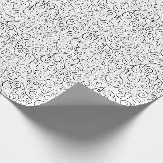 Hand-Painted Black Curvy Pattern on White Wrapping Paper