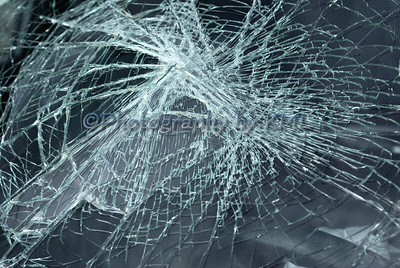 a car windshield that was broke in an accident