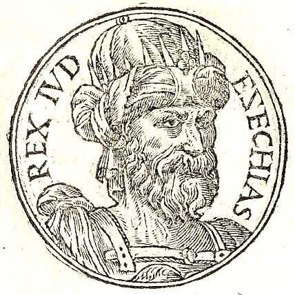 Retrato de Ezequías, decimotercer rey del reino independiente de Judá e hijo del Rey Acaz y de Abiyah.