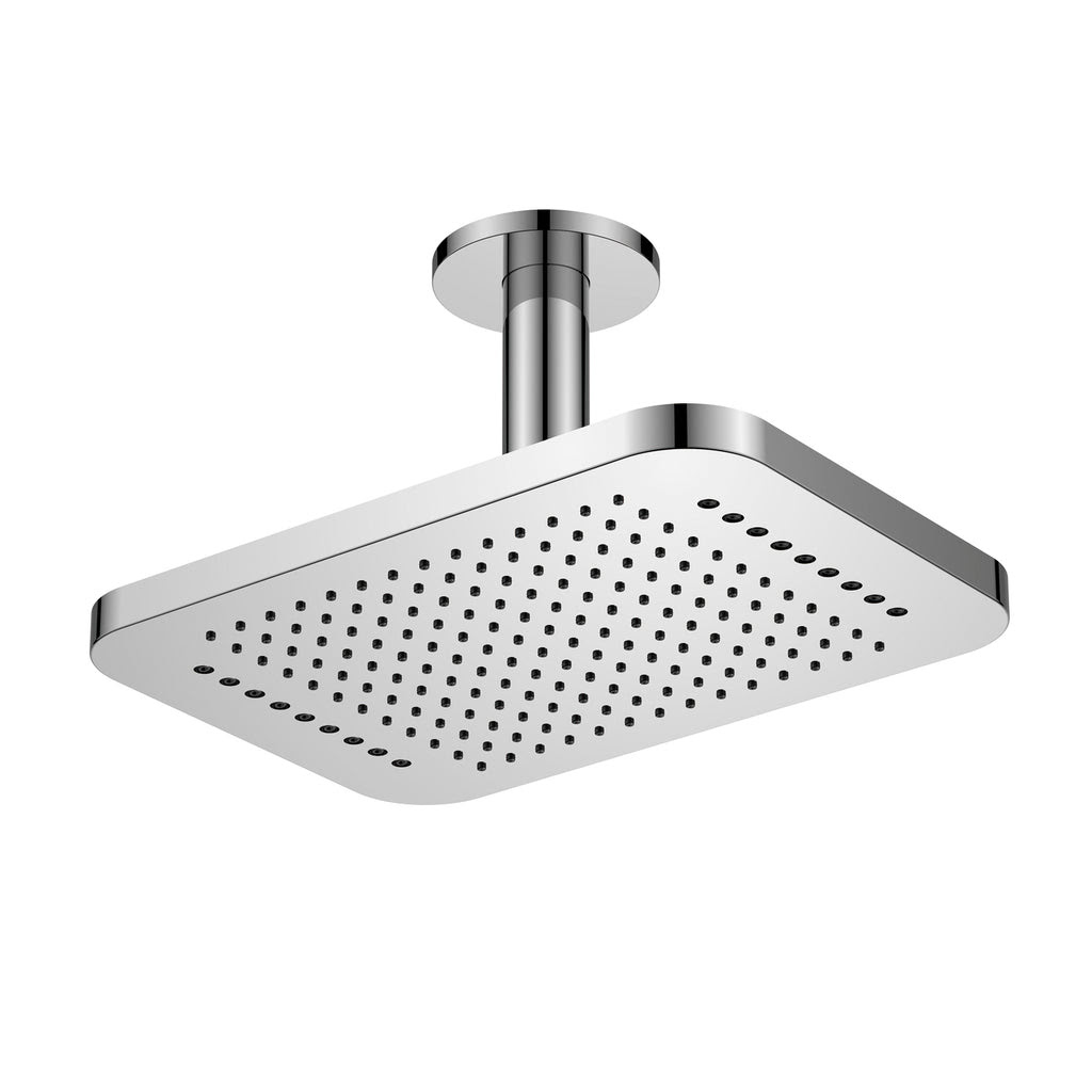 Dax Ceiling Mounted Square Rain Shower Head With Shower Arm Brushed N
