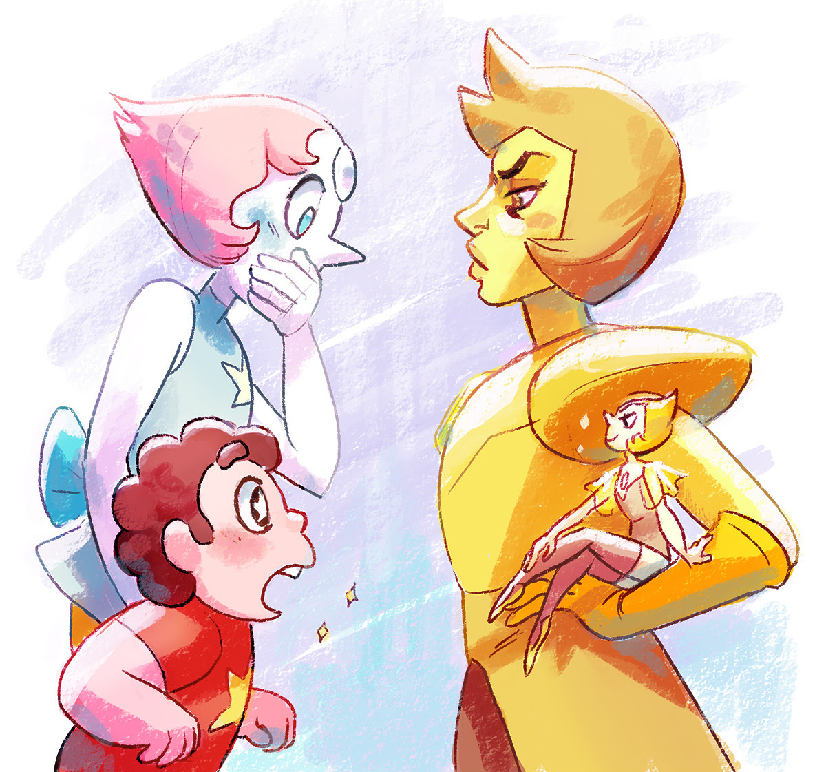 EDGY STEVEN UNIVERSE THEORY: Yellow diamond is not huge. Yellow Pearl is just really, really tiny. (@twilightdragoness)