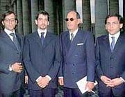 I gemelli Alessandro e Andre Angelucci, il padre Antonio,  ultimo a destra il fratello Giampaolo