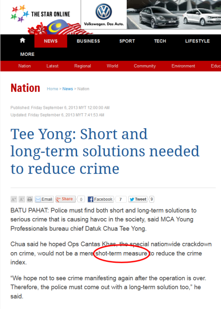 Tee Yong- Short and long-term solutions needed to reduce crime - Nation