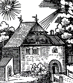 etching of a castle