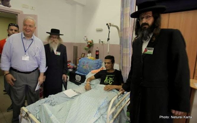 Rabbi hirsh visits those wounded in Israel's latest assualt on Gaza. July, 2014.