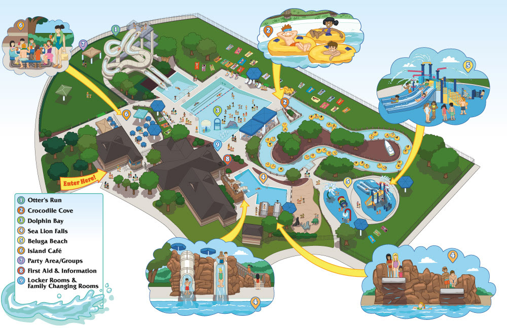View An Illustrated Mystic Waters Map Of The Amenities And