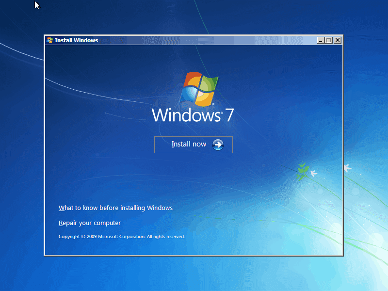 تثبيت ويندوز7