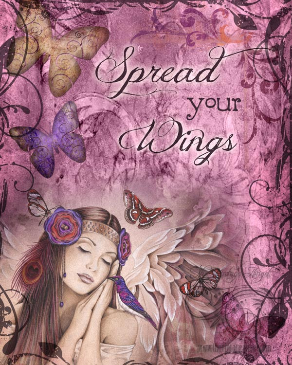 Spread Your Wings Inspirational Fantasy Angel Art Print By Jessica