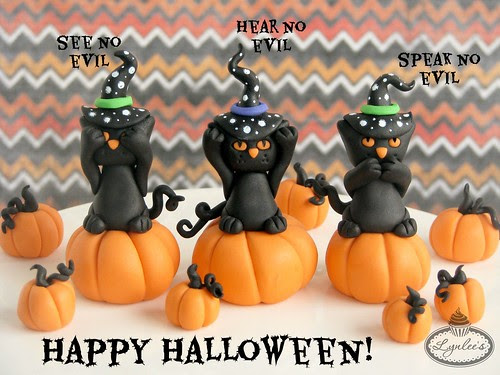 No Evil Black Cat Fondant Cupcake Toppers