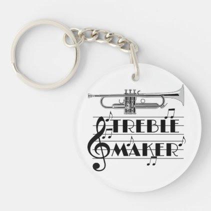 Trumpet Player Treble Maker Keychain