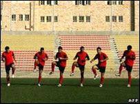 Equipo palestino entrenando