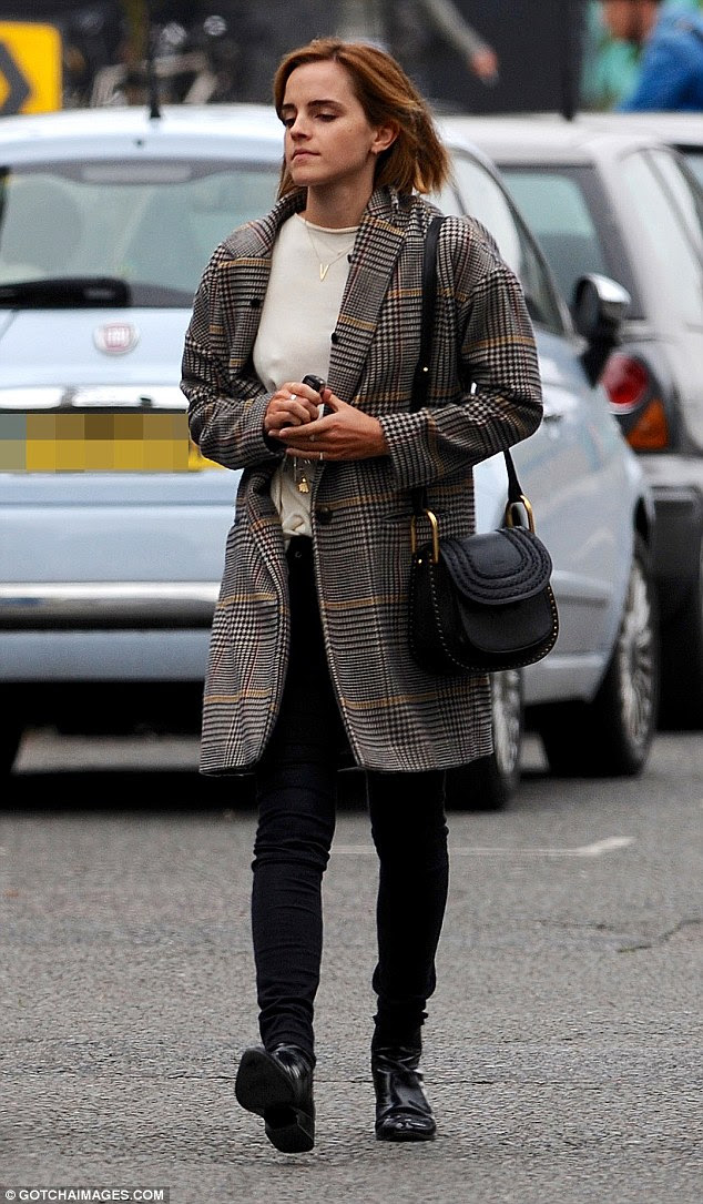 Stylish as ever: Emma Watsonwas showcasing her flair for fashion as she stepped out in London on Friday