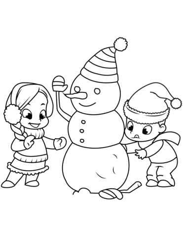 kids building a snowman coloring page  free printable