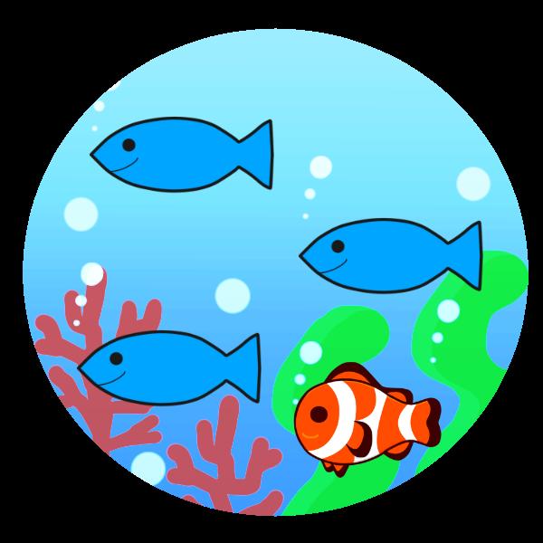 海中の魚たちのイラスト かわいいフリー素材が無料のイラストレイン
