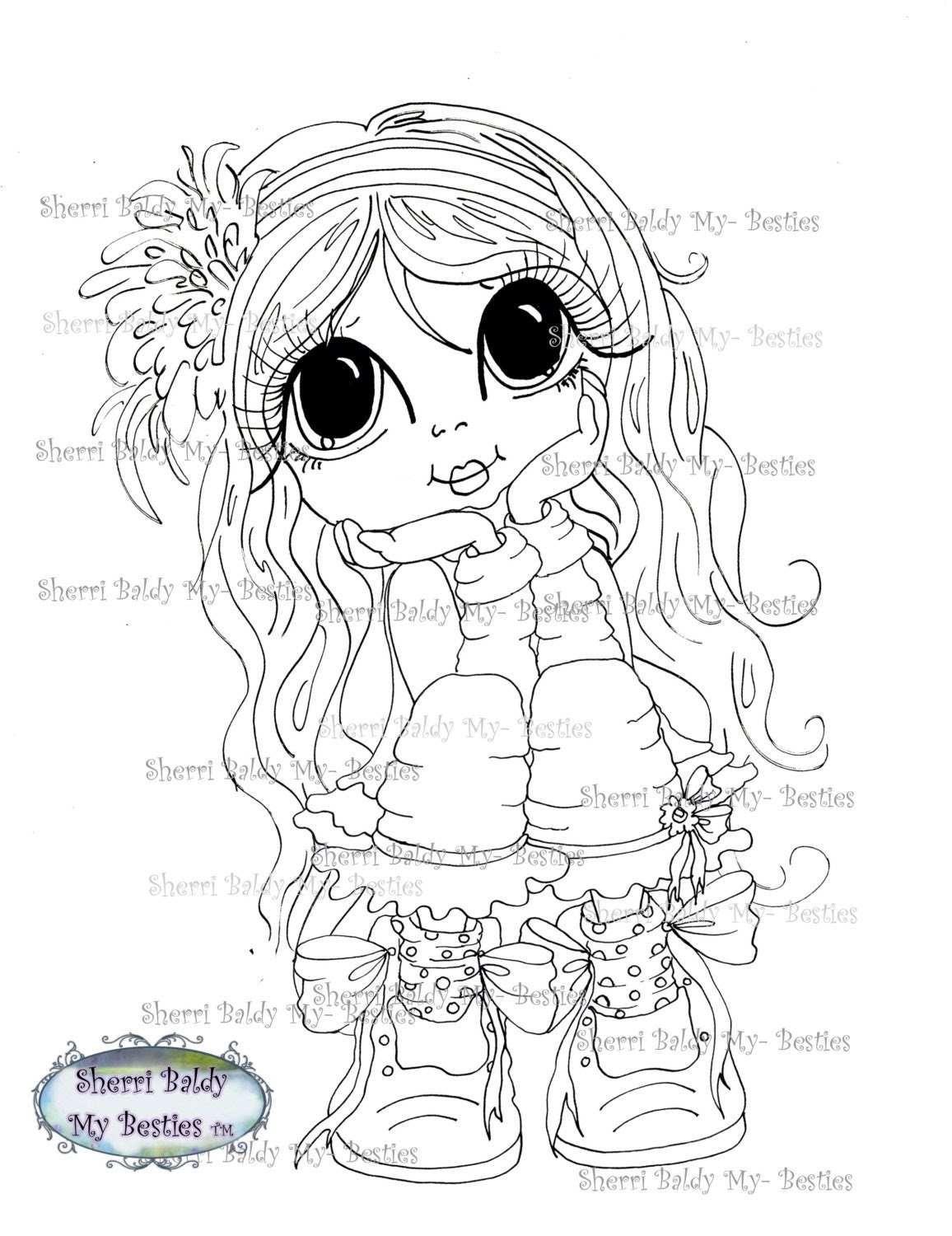 INSTANT DOWNLOAD Digital Digi Stamps Big Eye Big Head Dolls  My Besties Digi Gill Day Dream By Sherri Baldy
