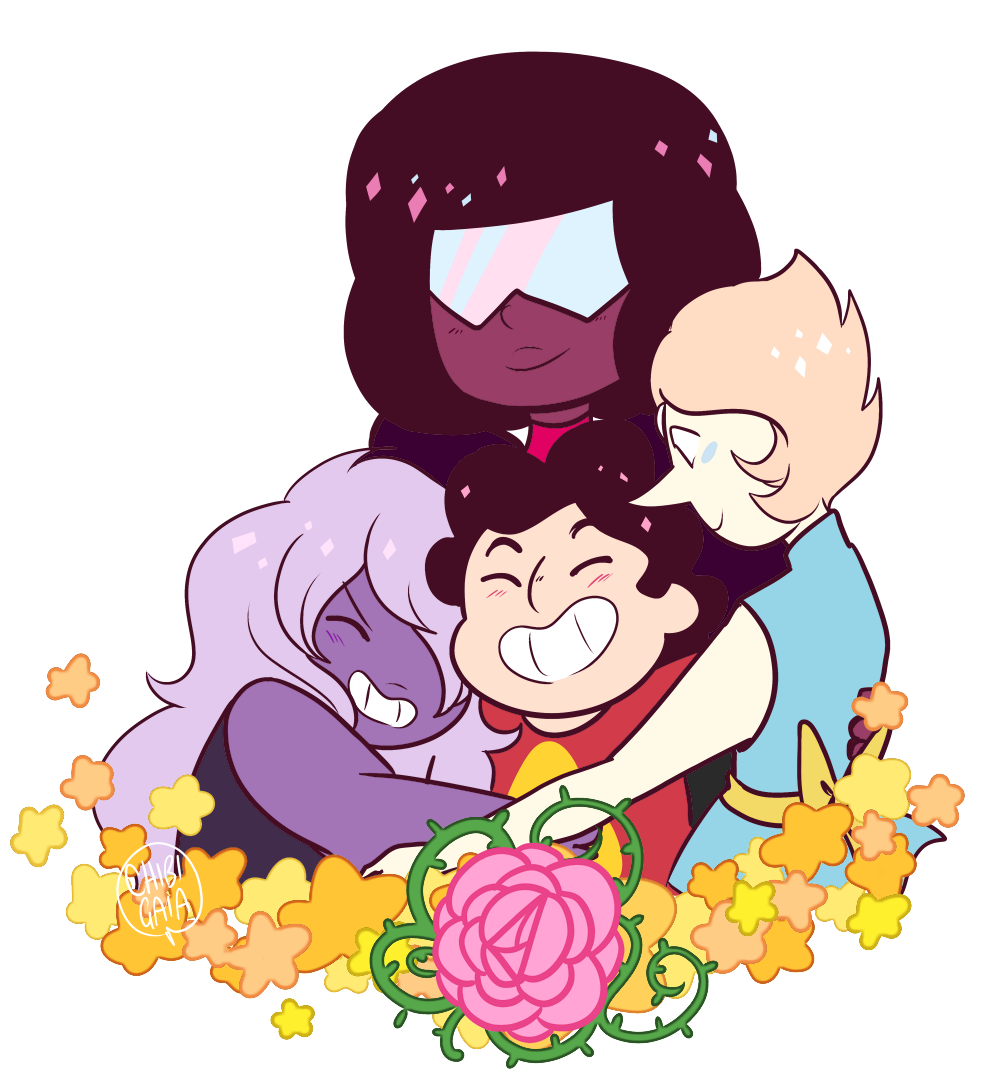 I lost the asks but some people asked for Steven Universe + hugs so!!! Here they are! I actually liked this enough to put it on Redbubble ahh,,, [ Society6] [Commissions]