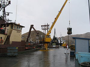 The Arctic Lady in the process of offloading h...