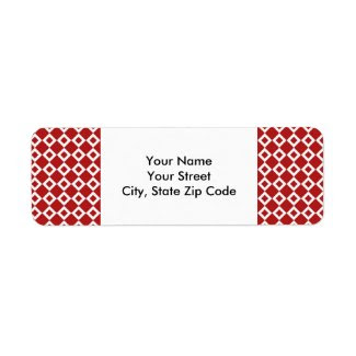 Red and White Diamond Pattern return address label