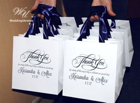 30 Wedding Welcome Bags with Navy Blue satin ribbon