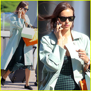 Irina Shayk Catches a Flight Out of Newark in a Mint Green Coat