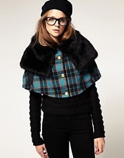 ASOS Faux Fur And Check Cape