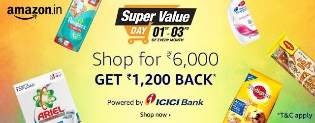 Super Value Day: Get Up to Rs. 1200 Amazon pay balance on Shopping