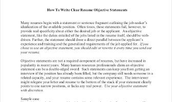 8+ Objective Statement Resume Samples Sample Templates