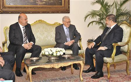 Egyptian President and Vice-President with United Nations envoy to Syria. Will Egypt intervene in the Syrian crisis? by Pan-African News Wire File Photos
