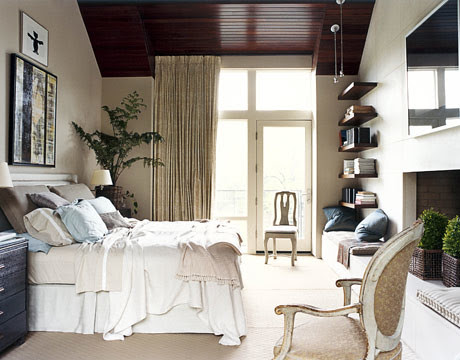 Serene taupe bedroom: Ellen Kennon Full Spectrum Paints 'Mushroom'