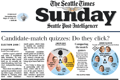 Snapshot of Seattle Times story on matchmaking quizzes