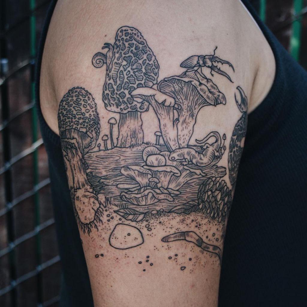 Tatuagens inspiradas na natureza combinam gravuras de estilo vintage de fauna e flora 15
