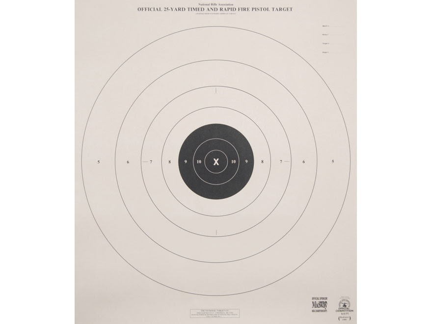 NRA Official Pistol Targets B-8(P) 25 Yard Timed Rapid Fire Paper